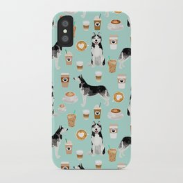 Husky coffee siberian husky owners gifts for dog person dog breed portraits by pet friendly iPhone Case
