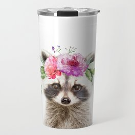 Baby Raccoon with Flower Crown Travel Mug