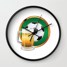 Beer and Soccer Ball in green circle Wall Clock