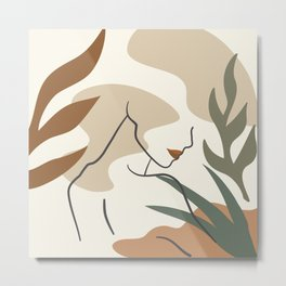 Abstract Female Body Line Art Metal Print