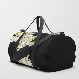 Cherry Flowers On Black Background #decor #society6 #buyart Duffle Bag