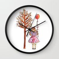 eugenia loli Wall Clocks featuring Little Loli by Adela Pakke