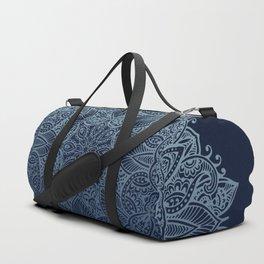 Mandala Deep Blue Bohemian Ombre Duffle Bag