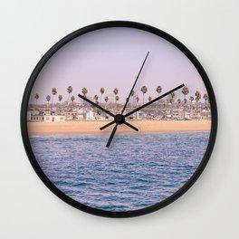 Vintage Newport Beach Print {2 of 4} | Photography Ocean Palm Trees Magenta Tropical Summer Sky Wall Clock