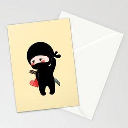 Tiny Ninja Holding Origami Heart Stationery Cards