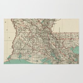 Vintage Map of Louisiana (1887) Rug