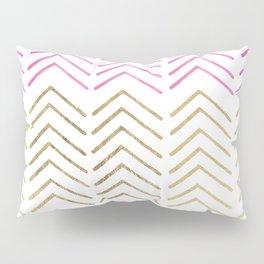 Pink faux gold watercolor tribal chevron pattern Pillow Sham