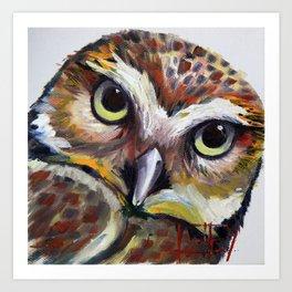 Burrowing Owl Palette Knife Painting in Oil by Award Winning San Francisco Bay Artist Lisa Elley Art Print