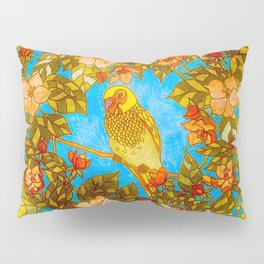 Colourful Yellow Parakeet In Flowery Wreath Pillow Sham