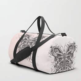 Beautiful filigree butterfly with flowers Duffle Bag