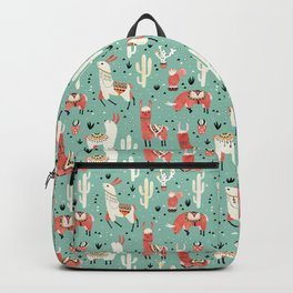 Llamas and cactus in a pot on green Backpack