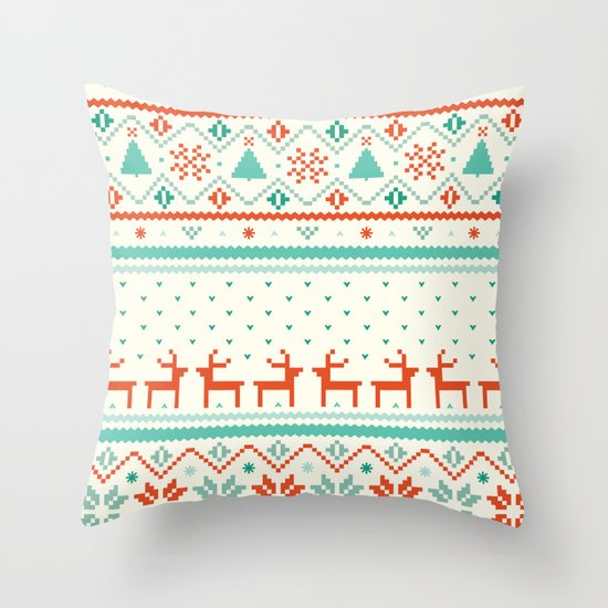 Festive Fair Isle Throw Pillow