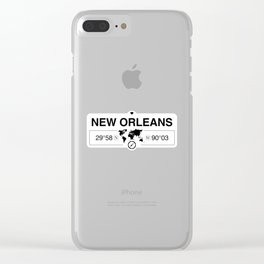 New OrleansLouisiana Map GPS Coordinates Artwork Clear iPhone Case