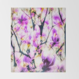 Abstracted magnolia branches Throw Blanket