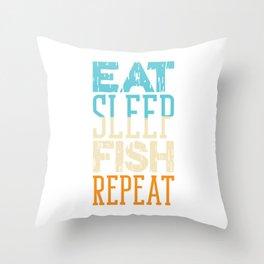 Eat Sleep Fish Repeat Anchor Fisherman Boat Angler Rod Boating Boat Sail Fishing T-shirt Design Throw Pillow