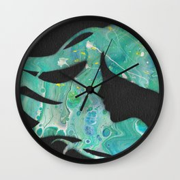 Midnight Mermaid Silhouette Art Wall Clock