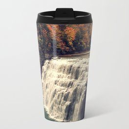 Waterfall in autumn Metal Travel Mug