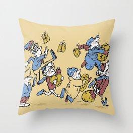 Shoppers Rushing Throw Pillow