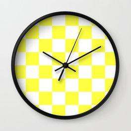 Cheerful Yellow Checkerboard Pattern Wall Clock