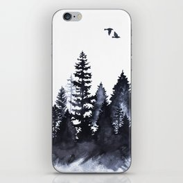 Forest Silhouette Watercolor iPhone Skin