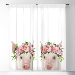 Baby Pig With Flower Crown, Baby Animals Art Print By Synplus Blackout Curtain