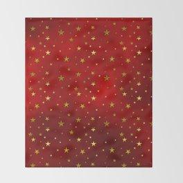 Golden Stars on Royal Red Throw Blanket