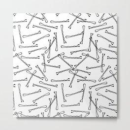 BOBBY PINS ((black on white)) Metal Print