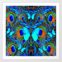 ELECTRIC NEON BLUE BUTTERFLIES & BLUE PEACOCK FEATHERS Art Print