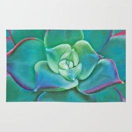 Vibrant Aqua Succulent Plant Rug