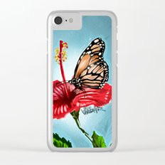 Butterfly on flower 2 Clear iPhone Case