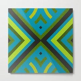 Blue Green Retro Sharp Lines Geometric Metal Print