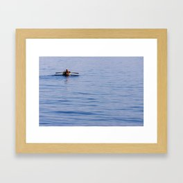 Lonely turkish fisherman on the sea of Izmir Framed Art Print