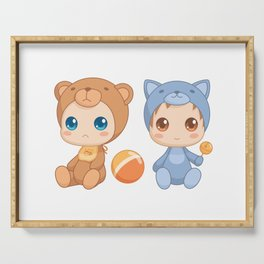 Babies in Cat and Bear Jumpsuits Serving Tray