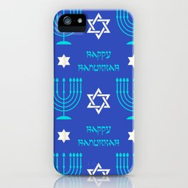 Hanukkah Holidays Menorah and Star of David Pattern iPhone Case