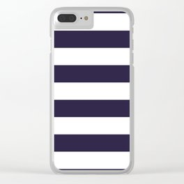 Dark eclipse Blue and White Wide Horizontal Cabana Tent Stripe Clear iPhone Case