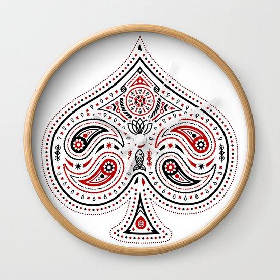 83 Drops - Spades (Red & Black) Wall Clock