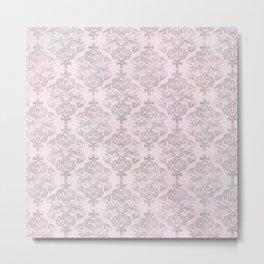 Rose Grey Pastel Damask Watercolor Pattern Metal Print