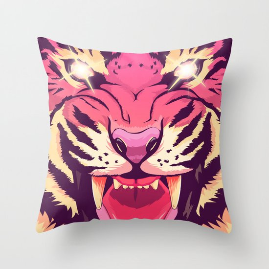 Cool angry tiger throw pillow by oh wow society6 for Cool couch pillows