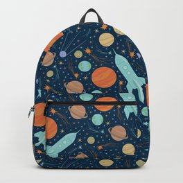 Blue rockets amoung orang and yellow planets and shooting stars Backpack