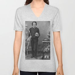 Edgar Allan Poe with Skull and Skeleton macabre black and white photograph Unisex V-Neck