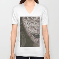 no face V-neck T-shirts featuring Face  by Kate Allison