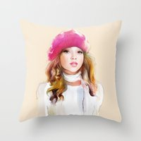 red riding hood Throw Pillows featuring  red riding hood by tatiana-teni