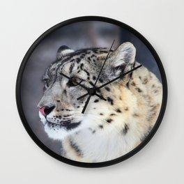 Concerned Mama Snow Leopard Wall Clock