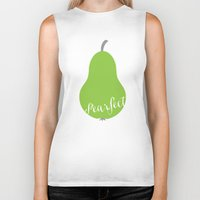 "onesie Biker Tanks featuring Pear Green Onesie ""Pearfect"" by Spilling Beans"