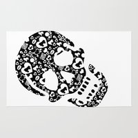 roller derby Area & Throw Rugs featuring Roller derby Skull Print by Mean Streak