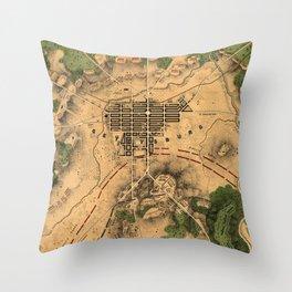 Vintage Map of The Gettysburg Battlefield (1863) 3 Throw Pillow