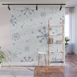 Seamless Winter Snowy Background Wall Mural