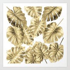 Gold Monstera Art Print