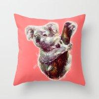 koala Throw Pillows featuring Koala by beart24