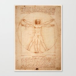 Vitruvian Man (Uomo Vitruviano) Leonardo da Vinci Canvas Print